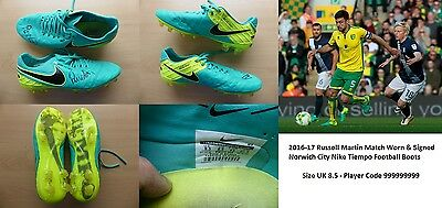 2016-17 Russell Martin Match Worn & Signed Norwich Nike Tiempo Boots (10074)