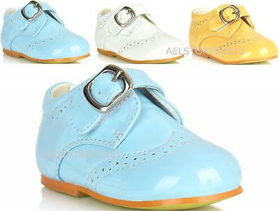 Shoes Boys Wedding Formal Black Smart Buckle Up Christening Size Party Kids 1-8