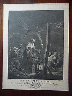 C18th Teniers Engraving Portrait Witches and Demons, Arrival of the Sabbath,