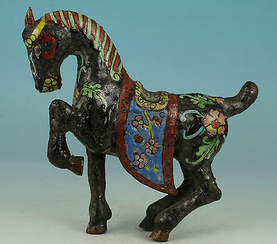 Noble Gift Chinese Old Cloisonne Handmade Carved horse Statue Figure