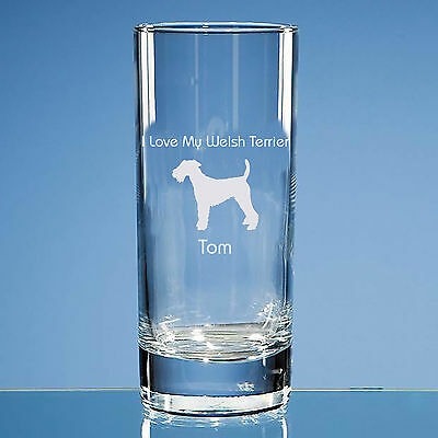 Welsh Terrier Dog Lover Gift Personalised Engraved Bubble Base Highball Glass