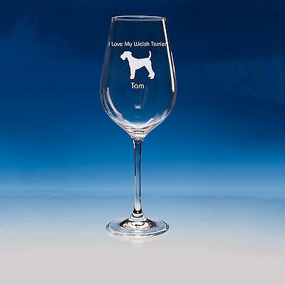 Welsh Terrier Dog Lover Gift Personalised Engraved Quality Wine Glass - Add Name