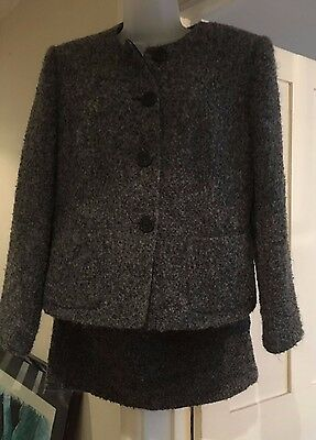 Minuet Skirt and Jacket Wool Suit Grey Stunning Size 14