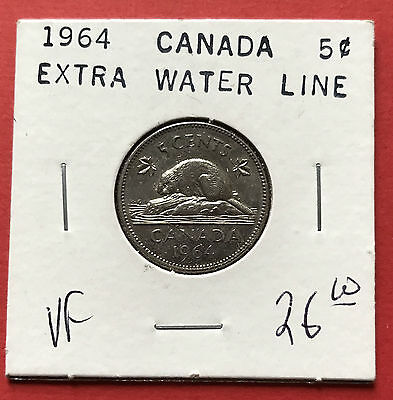 1964 Extra Water Line Canada 5 Cent Nickel Coin $26 - VF