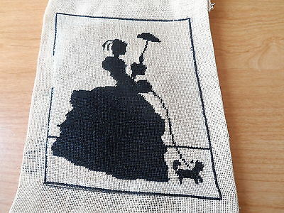 Antique Vintage Tapestry Needlework Needlepoint Portrait Silhouette - Unframed