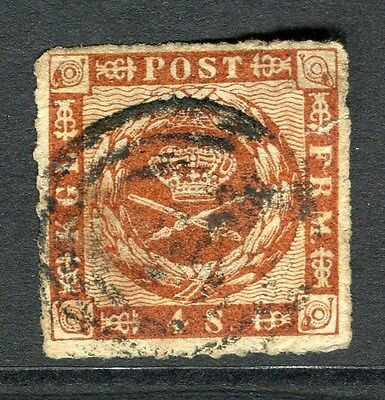 DENMARK;  1863 early classic rouletted issue used 4sk. value,
