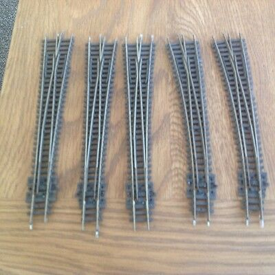 5 x PECO N GAUGE POINTS  ( 3 x RIGHT TURNOUT 2 x LEFT TURNOUT )