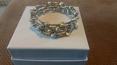 Silver grey freshwater pearl spring bracelet small