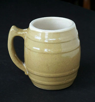 UHL Pottery White/Tan Stoneware Smooth Banded Barrel Stein Mug 16 Huntingburg IN