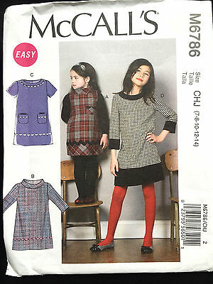 6786 McCalls Childs Girls Dress Pockets Collar Uniform Pattern UC 7-14
