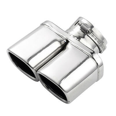 1x Car Exhaust Tip Chrome Tail Pipe Cover Trim Stainless Steel Y-Pipe Dual/Dual