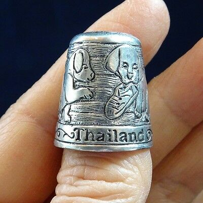 Pewter Sewing Thimble Dog Collectible Souvenir Gift Handmade Thailand