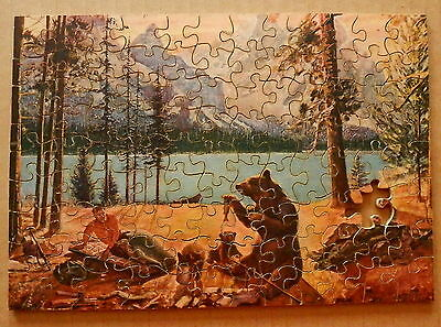JOSEPH K STRAUS Wood Jigsaw Puzzle #DILEMMA AT DAWN Bears & Campers (as is)