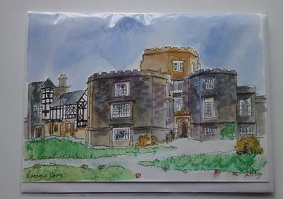 LEASOWE CASTLE, Wirral  ~  watercolour original painting on a  Greeting card