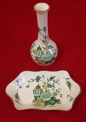 Staffordshire Bone China Kowloon Pattern Bud Vase And Pin Dish