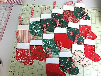 """16 Fabric Christmas Stocking Ornaments / Bags 5"""" Tall Red & Green"""