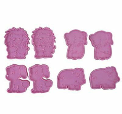 Plastic Set of 8 Animal Cookie Biscuit Cutter Cake Decorating Kit Tools Kitchen