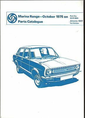 Morris Marina original illustrated Parts Catalogue October 1975 onwards AKM 0034