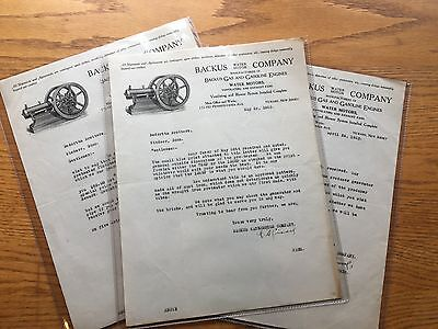 Backus Gas Engine Factory Letters {Three} Original Hit Miss Antique Old