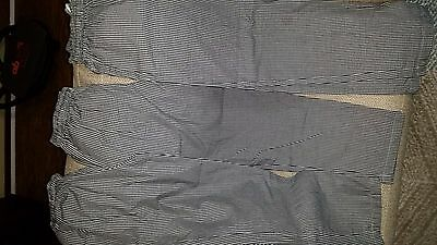 3 pairs Chef Works checkered uniform pants draw string size SMALL