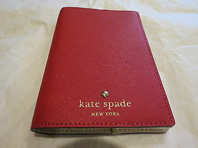 Kate Spade Mikas Pond Pill Box Red Leather Passport Holder Authentic New NWT