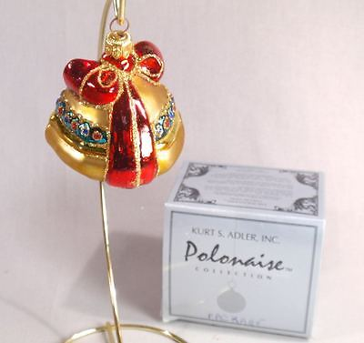 Kurt Adler Polonaise Golden Package with Red Bow Christmas Ornament