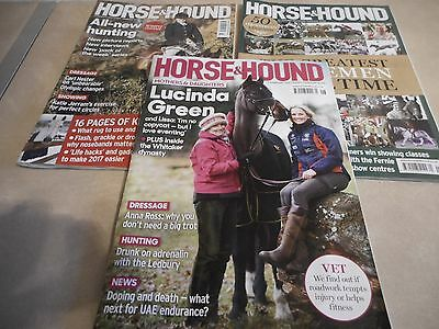 Three Horse And Hound Magazines (12/01/17, 19/01/17 And 09/02/17 Issues)