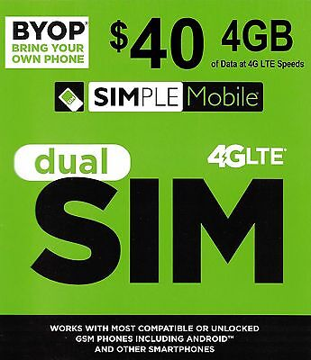 Simple mobile preloaded sim with $40.00 UNLIMITED plan