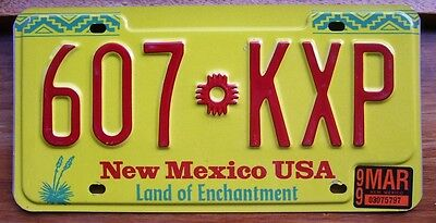NEW MEXICO 607KXP Yellow Yucca  AMERICAN LICENSE NUMBER PLATE