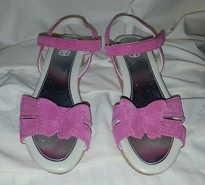 Clarks Girls Summer Pink Suede Butterfly Wedge Sandals Size 12.5 New