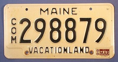 1988 Maine Commercial License Plate 298879            Ul1748