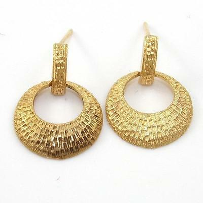 Solid 14K Yellow Gold Ribbed Dangle Geometric Earrings