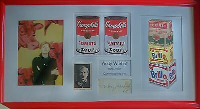 ANDY WARHOL: Pop Art. RARE. Large original signed framed display piece from 1968