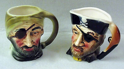 Pair of Small Unmarked Pirate Character Toby Jugs