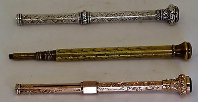 3 Victorian Propelling Pencils with Cabochon Ends c.1880. Gold Plated/ Silver