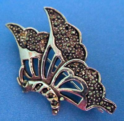 Antique Art Deco Beautiful Butterfly Sterling Silver Marcasite Brooch