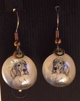English Setter Glass Drop Dangle Earrings
