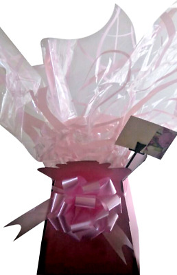 1x FLOWER BOUQUET /CELLOPHANE /50MM BOW/ GIFT CARD  MOTHERS DAY PALE PINK