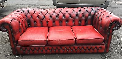 Chesterfield Sofa Oxblood Three Seater Delivery Available