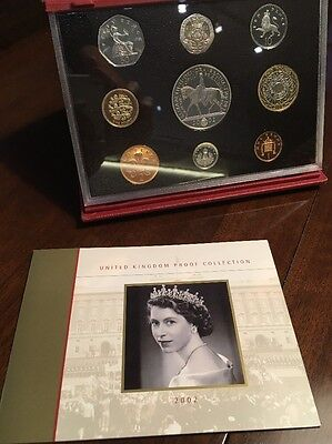 Royal Mint 2002 Deluxe Red Leather Case Golden Jubilee Proof Coin Set + Leaflet