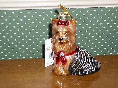 "Kurt Adler 3.5"" -Noble Gems Blown Glass Yorkshire Terrier Ornament"