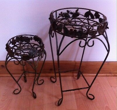 Two 2 Wrought Iron Plant Holders Stands Shabby Chic Garden Patio