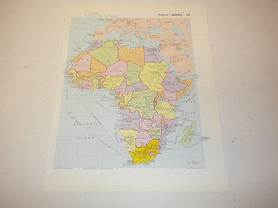 AFRICA Map Old Vintage Original Print 1986 Political Europe Countries