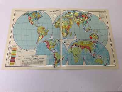 The World Map Old Vintage Map 1963 Geology After  Beyschlag Nalivkin & Others