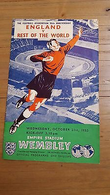 England v Rest of the World programme, 21/10/53, FA 90th Anniversary match