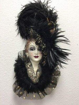 NWT Unique Creations Wall Mask, Elegant Lady, Signed, Numbered! Black & Gold