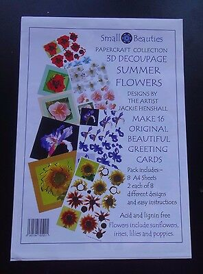 NEW-Small Beauties Papercraft Collection 3D Decoupage Summer Flowers-8 A4 Sheets