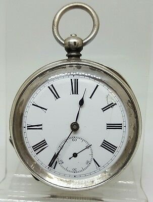 Antique solid silver gents pocket watch c1900 working