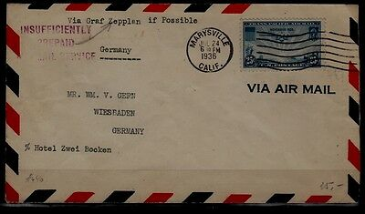 USA/France Zeppelin cover 1936 insufficiently prepaid