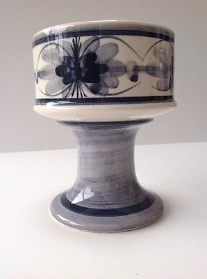 Blue & White Hand painted Vintage Vase Or Candle Holder By Jersey Pottery